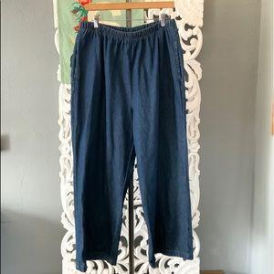 25/7 Denim   elastic waist straight leg jeans 18W